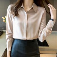2021春季新款缎面长袖衬衫女设计感小众轻熟港风雪纺衫女士衬衣女