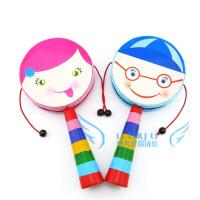 奥尔夫乐器 婴幼儿玩具拨浪鼓 卡通人脸图案 木柄拨浪鼓