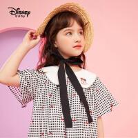 【2件2.3折:61.8元】迪士尼童装女童短袖连衣裙2021夏新款儿童宝宝公主裙时髦洋气