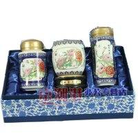 青花瓷3件套 景泰蓝 旋转笔筒+陶瓷杯+茶叶罐 国色天香 商务礼品