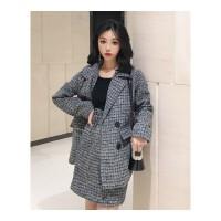 时尚套装女秋冬新款长袖格子西装毛呢外套高腰显瘦A字半身裙 灰色套装