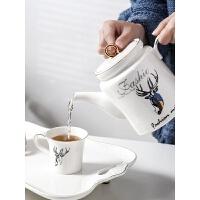 【好店】家用杯子套装陶瓷客厅水杯托盘水具欧式耐热茶壶茶杯冷凉水壶套装 鹿港小镇 16件(6杯+1壶+陶瓷托盘+铁架+壶