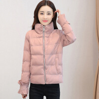 新款外套女冬季短款加厚棉袄韩版反季羽绒女装面包服棉衣 粉色(升款) M