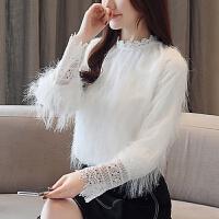 白色毛毛流苏雪纺衫打底衫灯笼袖设计感小众心机蕾丝上衣女装春装 白色