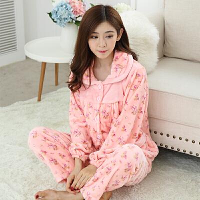 珊瑚绒女士睡衣加厚法兰绒冬季家居服套装长袖保暖韩版居家服