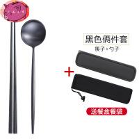 筷子勺子套装 便携式旅行装餐具三件套 304不锈钢叉勺套装送筷子盒