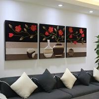 【品牌热卖】国风三联3D立体皮革浮雕装饰画客厅沙发背景墙画无框壁画新中式花 如图 80*80 25mm厚板 拼套