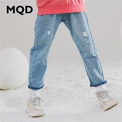 MQD童装女童牛仔裤2019秋季新款韩版萝卜裤破洞休闲宽松牛仔裤潮