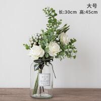 小清新绢花假花仿真花客厅花瓶装饰品摆件玫瑰餐桌花艺摆设