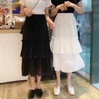 三木子快时尚女装~韩版荷叶边松紧高腰宽松蛋糕半身裙