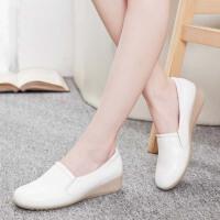 护士鞋夏季白色女牛筋底坡跟妈妈鞋休闲单鞋浅口工作鞋
