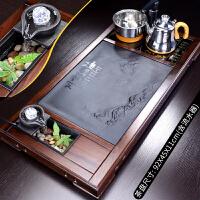 唐丰石墨流水实木茶盘套装家用乌金石茶台陶瓷西域风情功夫泡茶器