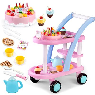 儿童推车女孩水果女童蛋糕快乐切切过家家厨房玩具套装