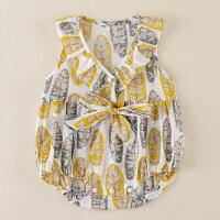 0-1岁女宝宝薄款衣服外出爬服婴儿夏装女公主款无袖连体衣