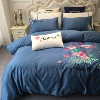 床上四件套纯棉1.5m1.8m床上用品简约60支长绒棉刺绣全棉床单定制 2.0m床 被套220x240cm