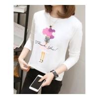 新款时尚宽松打底上衣服女装韩版大码长袖T恤打底衫秋季 X