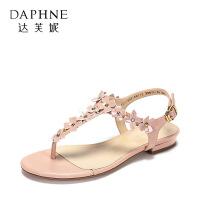 Daphne/达芙妮女鞋夏季夹趾休闲女鞋 甜美花朵脚腕绊带平底凉鞋-