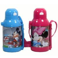 包邮!迪士尼 Disney 5633儿童保温杯 双层不锈钢软吸管保温壶500ML 隐形背带 蓝色米奇