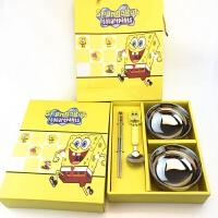 儿童不锈钢碗套装儿童餐具礼盒创意防烫碗筷子勺子四件套 礼盒装
