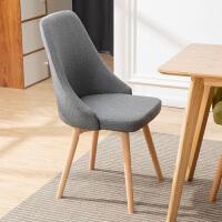 北欧单人实木椅子靠背餐椅ins网红化妆凳子电脑书桌椅子家用简约