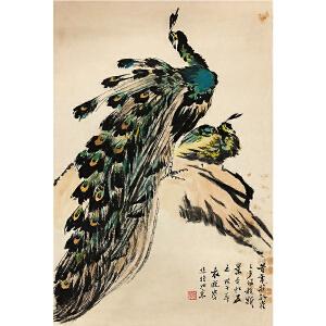 袁晓岑《孔雀》著名画家