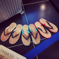 男士个性人字拖夏季木纹凉拖鞋舒适简约夹脚凉鞋沙滩鞋潮
