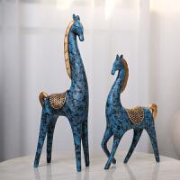 居家装饰创意办公室摆件软装饰树脂家居工艺品北欧现代*马摆件 家居装饰摆件 树脂马一对