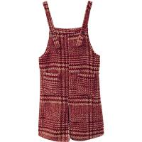 格纹毛呢背带裙女显瘦百搭复古秋季新款法式气质中长款开叉连衣裙 红色 均码