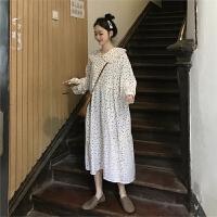 春季韩版女装甜美气质娃娃领波点长袖连衣裙宽松显瘦学生过膝长裙