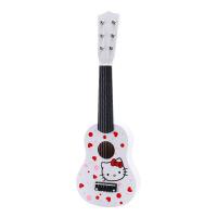 儿童玩具吉他可弹奏女孩木制21英寸尤克里里男孩木质六弦仿真乐器 吉他六弦【白色kt猫】 约54cm