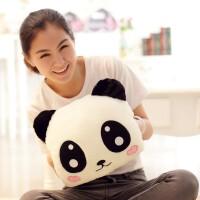 熊猫暖手抱枕 卡通熊猫毛绒暖手宝套暖手袋双插手抱枕手捂女朋友生日礼物 暖手捂