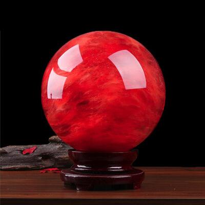 【新品优选】中国红水晶球鸿运当头原石熔炼球风水球办公室前台客厅饰品摆件
