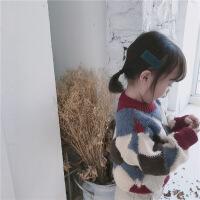 女童装秋装新款格子韩版儿童套头毛衣 女宝宝厚实线衫秋冬款