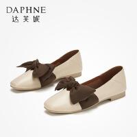 Daphne/达芙妮 2019秋款古大结饰低跟单鞋小清新双穿方头玛丽珍鞋奶奶鞋