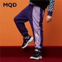 MQD男童针织裤儿童拼块潮裤中大童加绒加厚保暖裤2019冬季新款潮