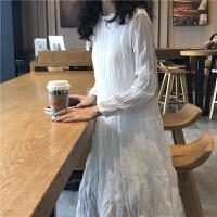 三木子快时尚女装~春季新款韩版白色褶皱长袖中长款长裙仙女裙