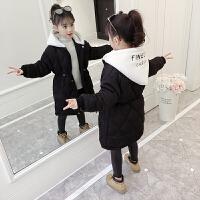 2019年冬季新款韩版加厚中长款棉衣中大童女童洋气冬装外套
