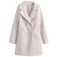 毛呢外套女秋冬新款韩版修身气质西装领中长款纯色呢子大衣