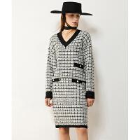 【每满199-121上不封顶再叠券】Amii2021冬季新款针织套装小复古香风格纹撞色半身裙两件套女毛衣