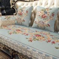 沙发垫欧式四季通用防滑布艺123组合套蕾丝客厅真皮坐垫