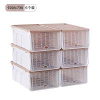 6个装大号防潮加厚翻盖透明鞋盒塑料男女鞋子整理收纳盒鞋柜组合 23.6x32.6x14cm