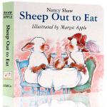 英文原版绘本 Sheep Out to Eat 羊在外面就餐 启蒙纸板书 廖彩杏韵文书单小羊系列绘本 早教英语启蒙读物