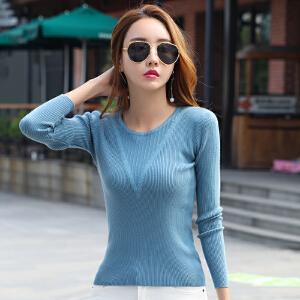 毛衣上衣女秋新款韩版V领毛边针织打底衫套头修身显瘦毛线衣
