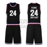 黑色24号科比篮球服 2016全明星球衣东西部篮球服套装背心 团购比赛装免费定制LOGO设计印字印号
