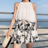夏季女装百搭沙滩海边气质韩版无袖挂脖露肩上衣阔腿短裤两件套装
