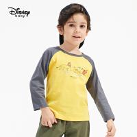 【3件4折券后预估价:41.2】迪士尼童装男童插肩休闲长袖T恤儿童宝宝2021春装新款洋气打底衫