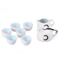 陶瓷故事 茶具套装 定窑白简约8件套组 功夫茶具茶壶茶杯精品礼盒装