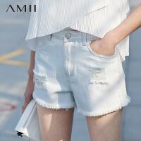 Amii极简主义]夏新品修身纯色磨破毛边插袋牛仔短裤11640541