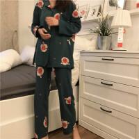 春季韩版女装甜美可爱长袖猪猪睡衣家居服+松紧腰睡裤套装两件套