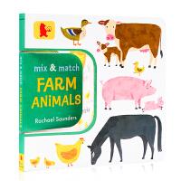 配对游戏:农场动物 趣味书Mix and Match: Farm Animals 英文原版绘本 动物启蒙认知 配对翻翻